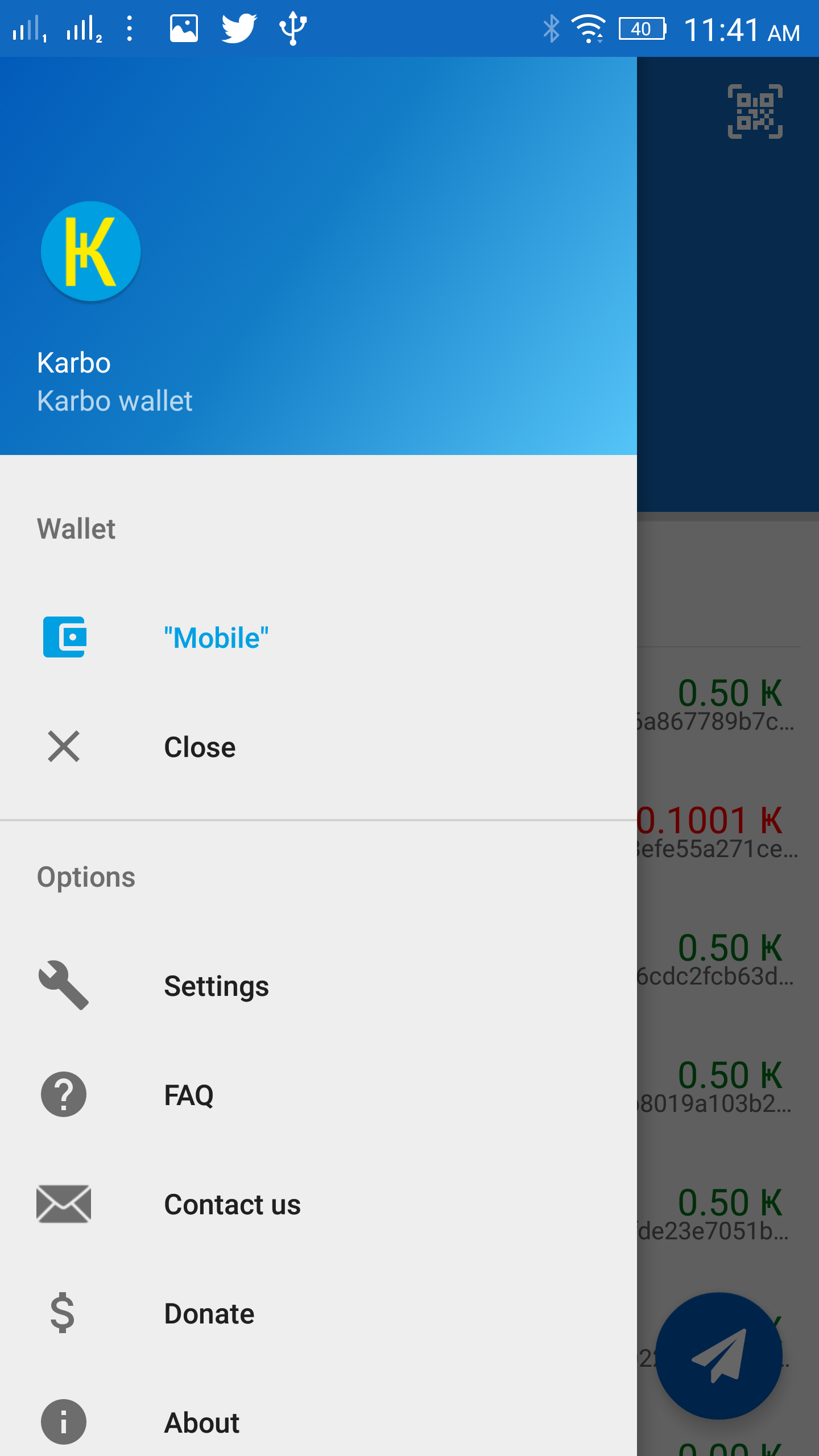 Mobile Wallet App Menu